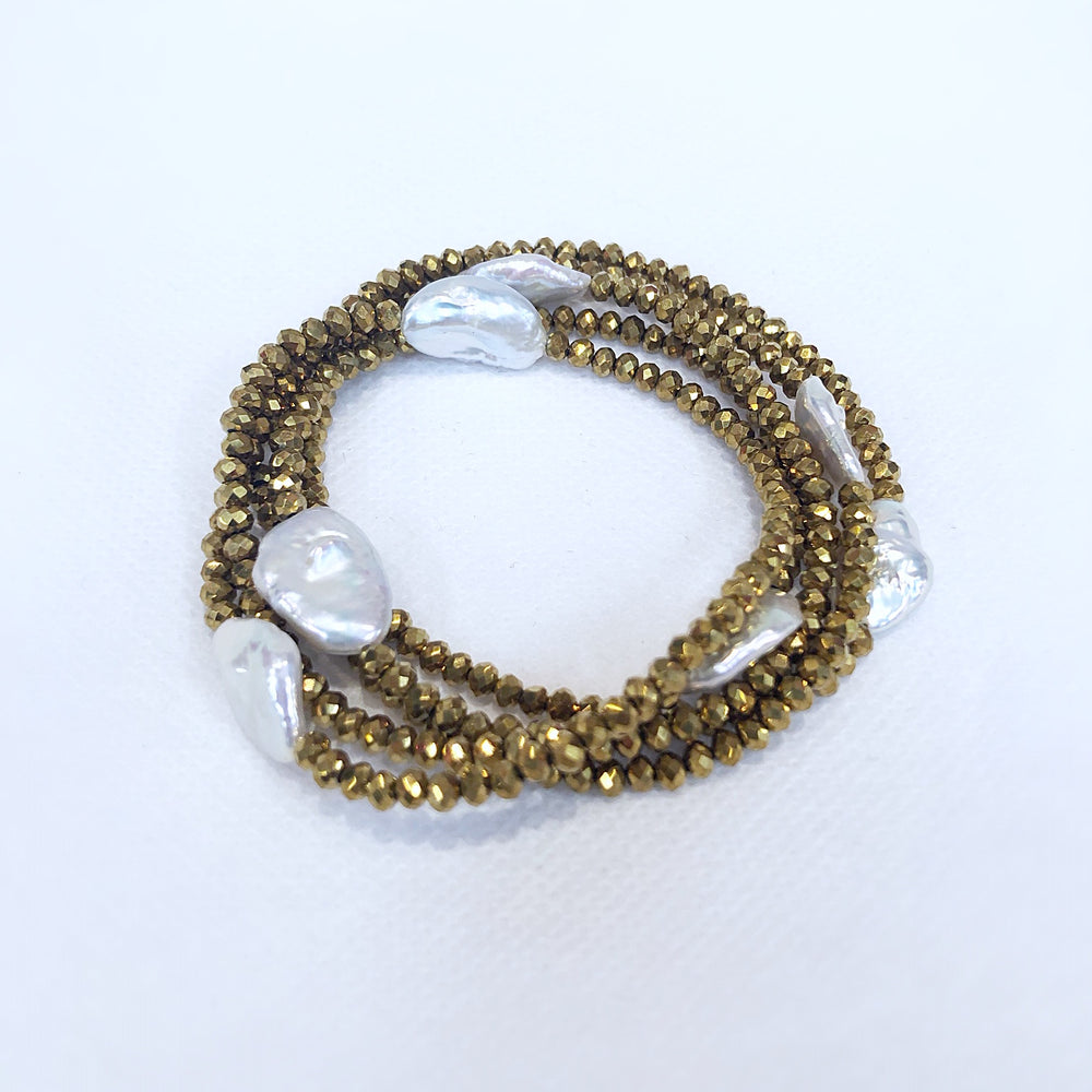 MVF Long Metallic Crystal and Pearl Wrap Gold