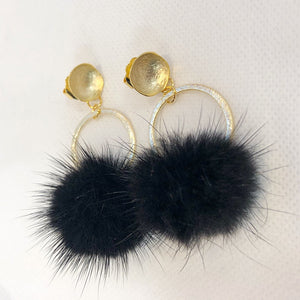 Sugar Mink Circle Drop Earring Black