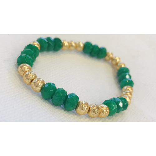 KEP Jade and Gold Plated Stretch Bracelet