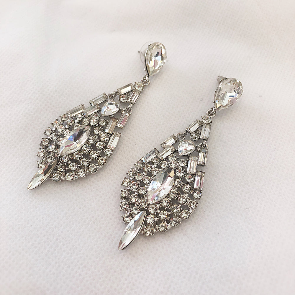 Teardrop Gemstone Earrings Silver/Clear