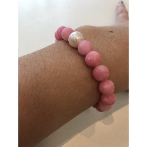 MVF Small Mixed Pink Gemstone Bracelet with Pearl