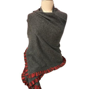 Two Bees Cashmere Charcoal Dress Topper with Red Tartan Trim