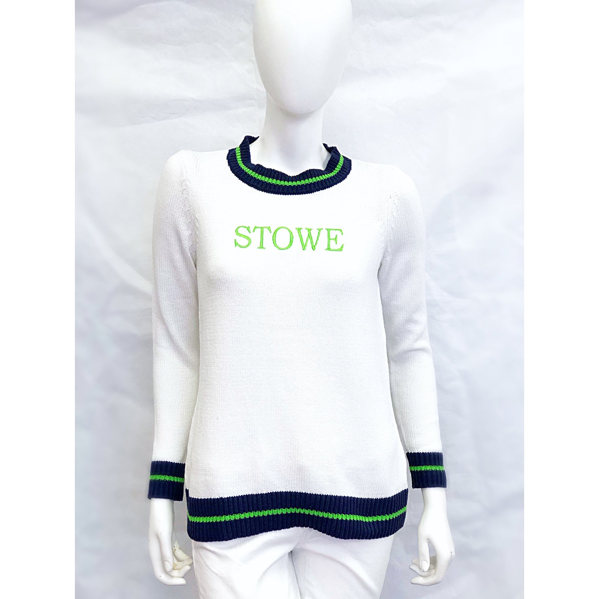 Sail To Sable Long Sleeve Varsity Sweater White/Green STOWE
