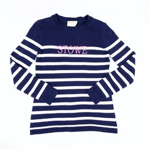 Sail To Sable Long Sleeve Stripe Sweater Navy/White Pink STOWE