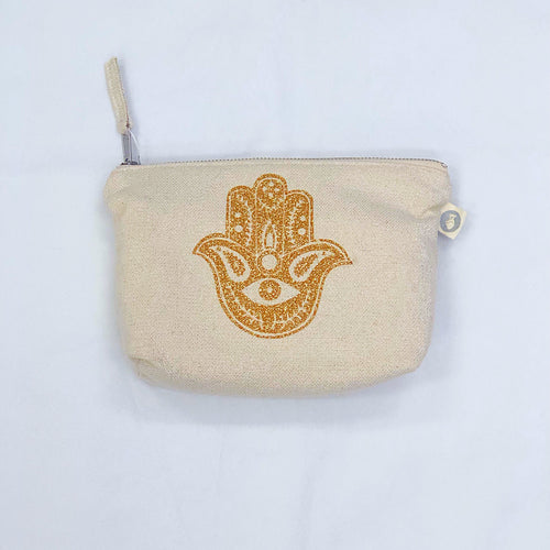 Quilted Koala Makeup Bag Gold Glitter Hamsa/Silver Metallic