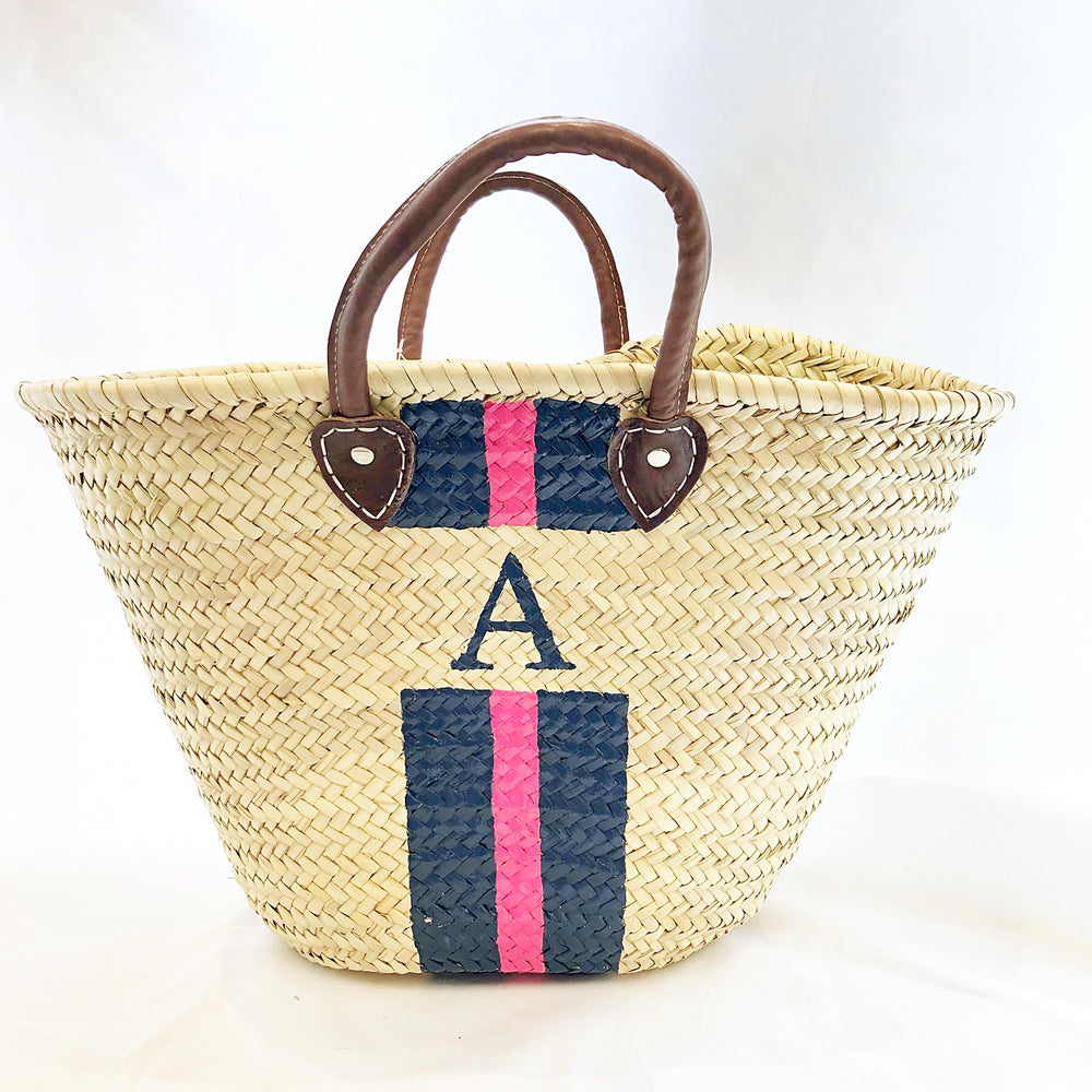 "Load image into Gallery viewer, TMC Initial Straw Market Tote ""A"" Navy/Pink Stripe"