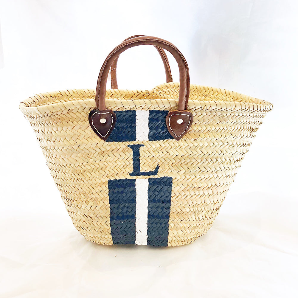 "Load image into Gallery viewer, TMC Initial Straw Market Tote ""L"" Navy/White Stripe"