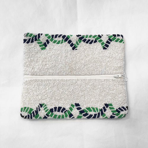 Beaded Fold Over Clutch White/Navy/Green