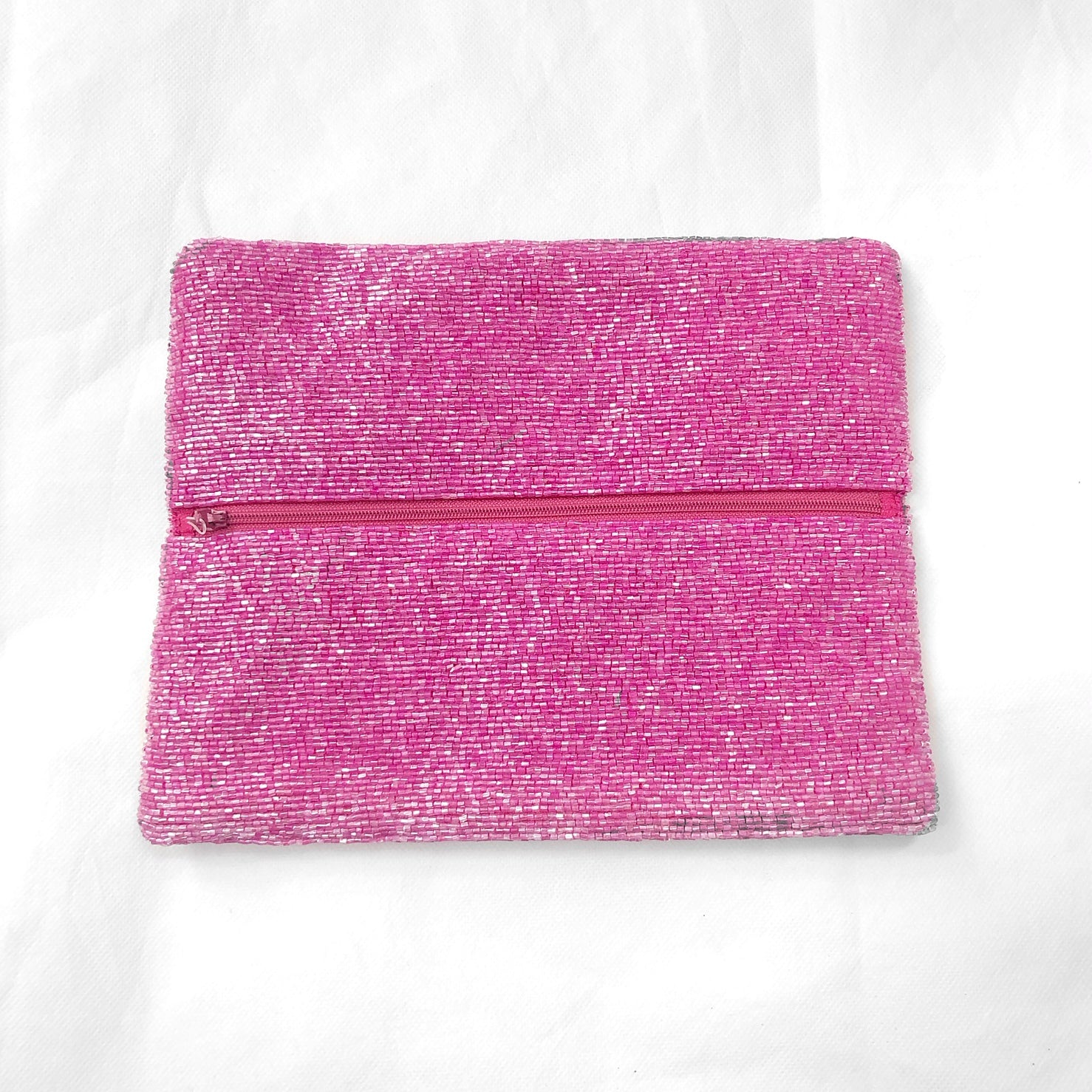 Beaded Fold Over Clutch Stowe Fuchsia/Silver