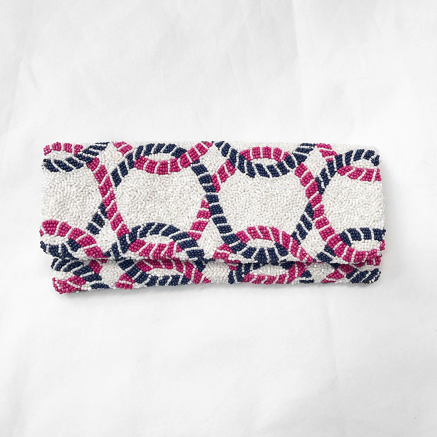 Beaded Fold Over Clutch White/Navy/Fuchsia