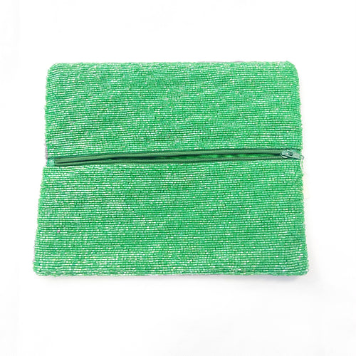 Beaded Fold Over Clutch Stowe Green/Ivory