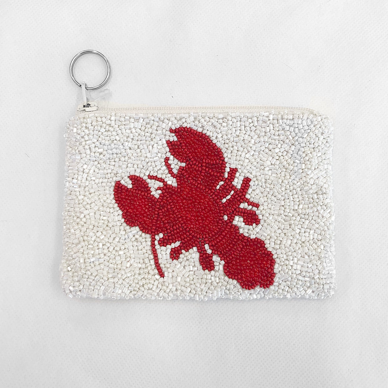 Beaded Coin Purse Lobster White/Red