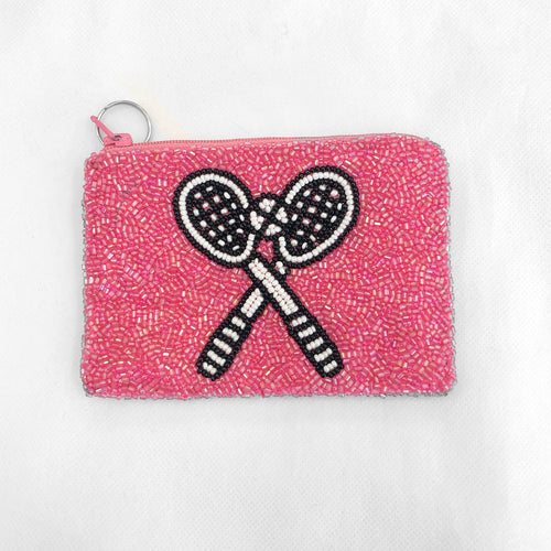 Beaded Coin Purse Tennis Bright Pink/Black