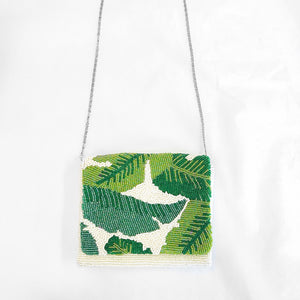 Load image into Gallery viewer, Beaded Crossbody Palm Leaf Ivory/Lime