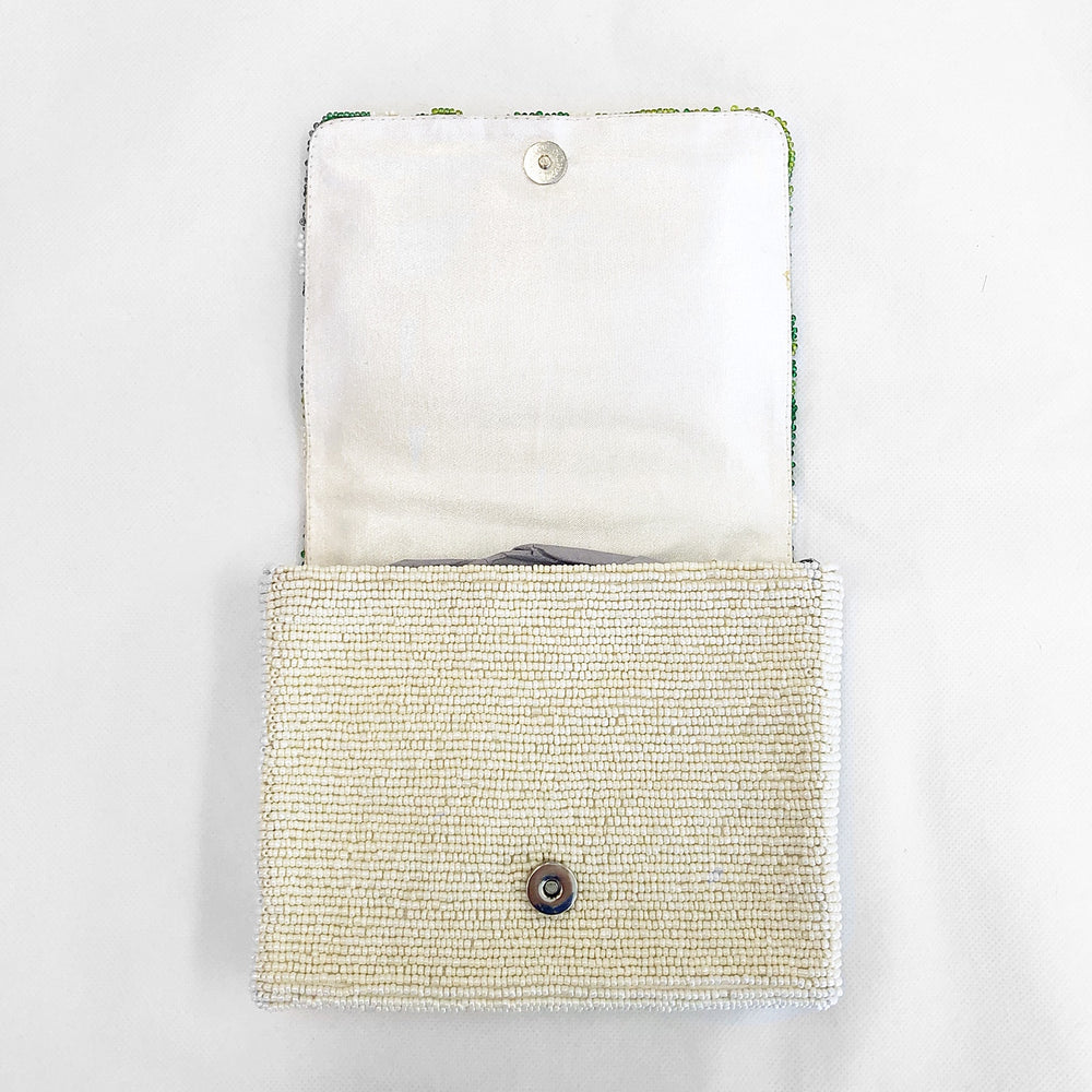 Beaded Crossbody Palm Leaf Ivory/Lime