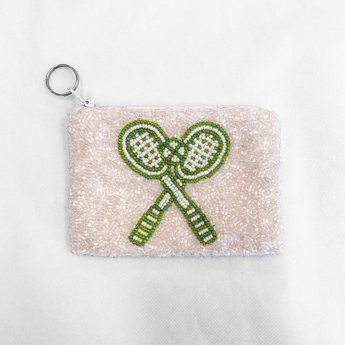 Beaded Coin Purse Tennis Pink/Lime Green