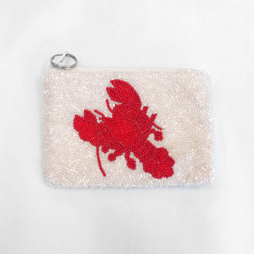 Beaded Coin Purse Lobster Pink/Red
