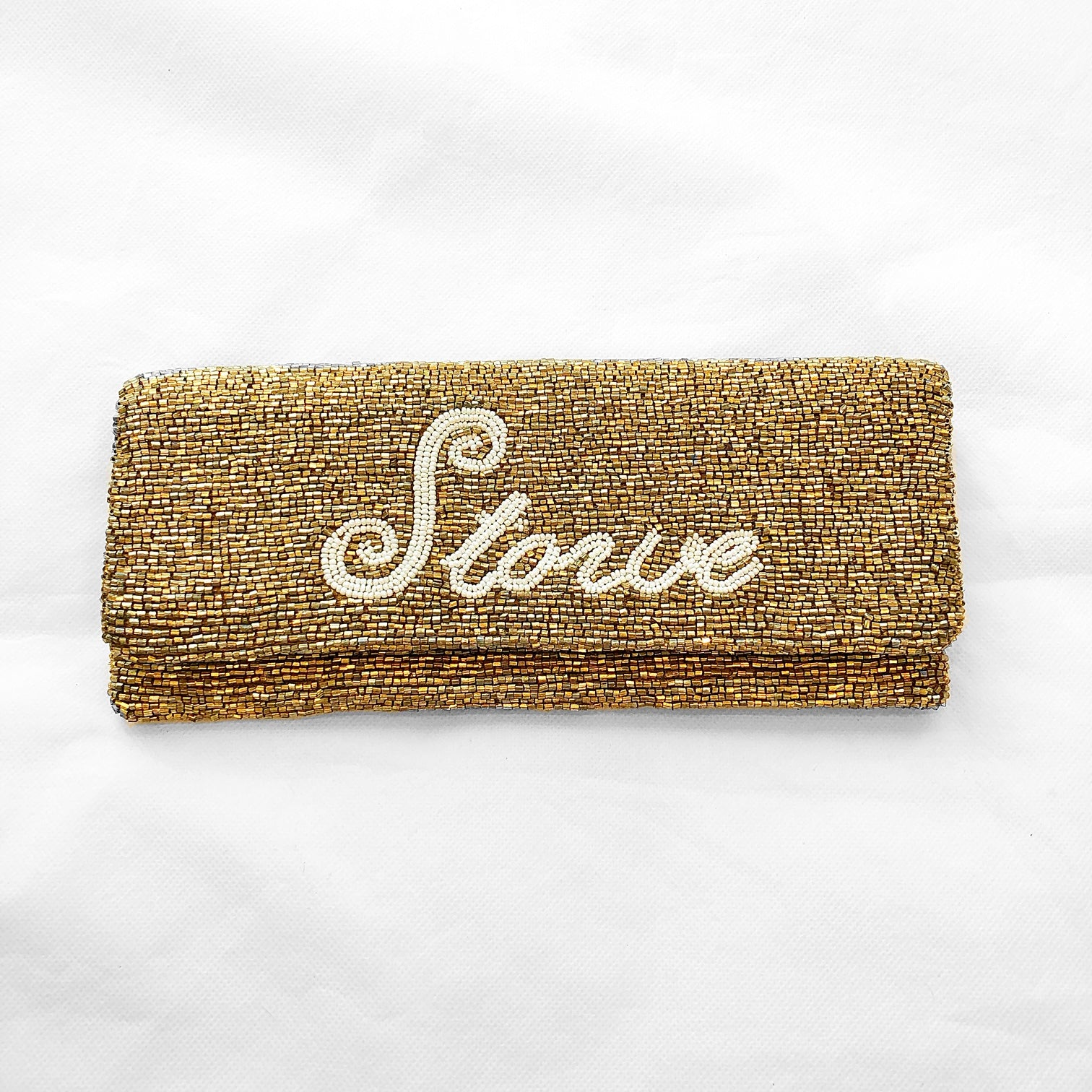 Beaded Fold Over Clutch Stowe Gold/Ivory