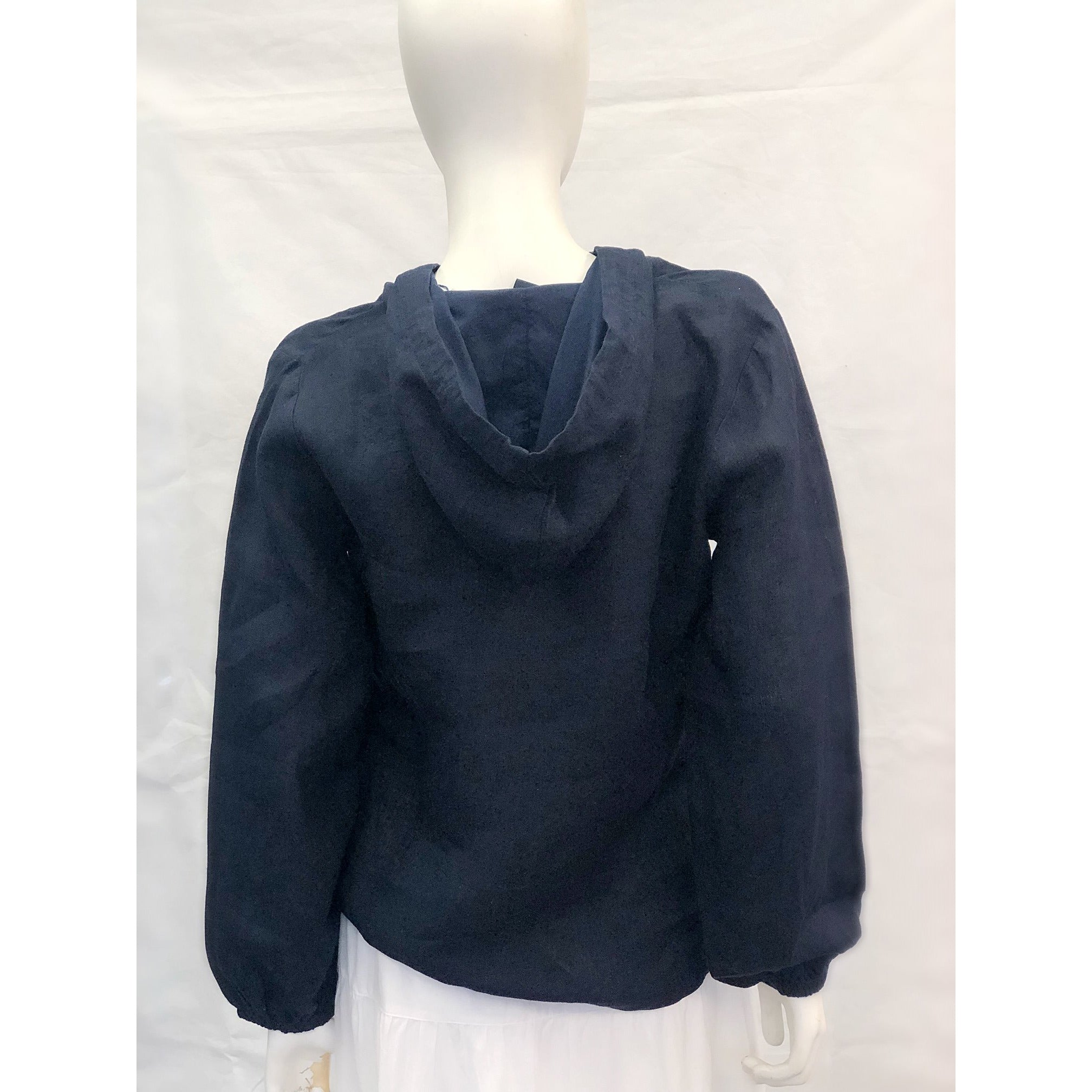 Madison Mathews Walker Linen Hoodie Navy
