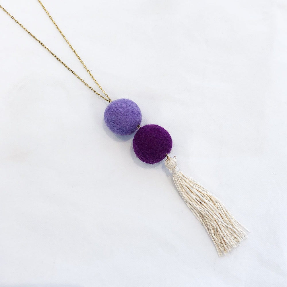 Double Pom Tassel Necklace Purple