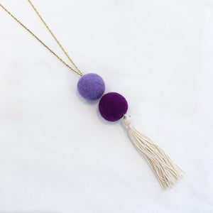 Load image into Gallery viewer, Double Pom Tassel Necklace Purple