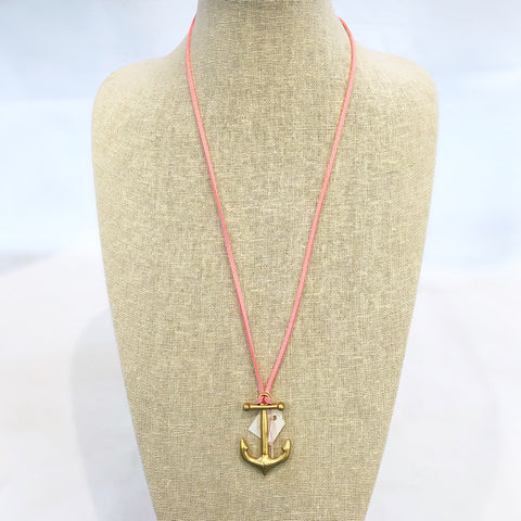 Long Anchor Wrap Necklace Light Pink