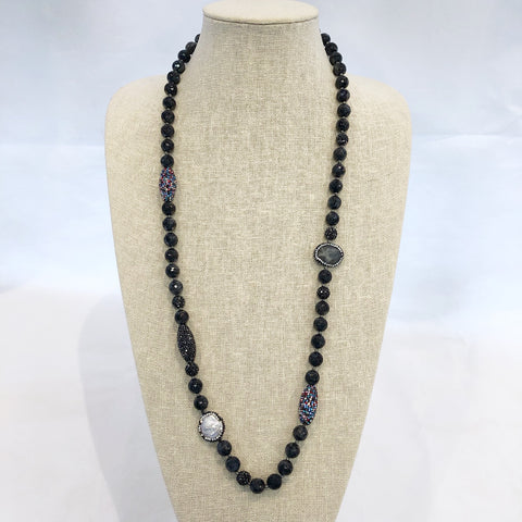 Long Stone & Pearl Necklace