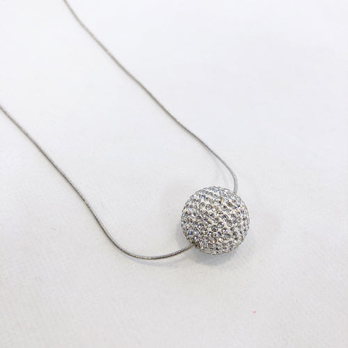 Silver Crystal Ball Necklace