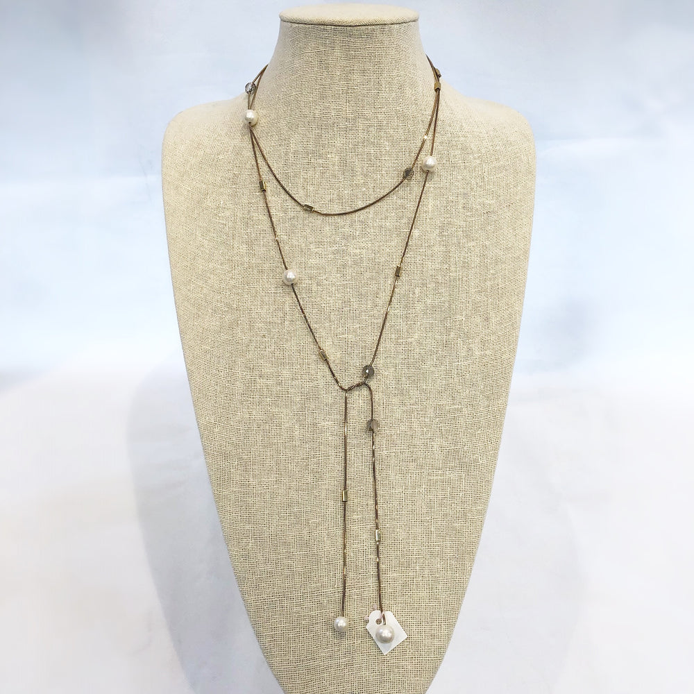 Load image into Gallery viewer, Silver Pearl Lariat Necklace