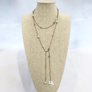 Silver Pearl Lariat Necklace