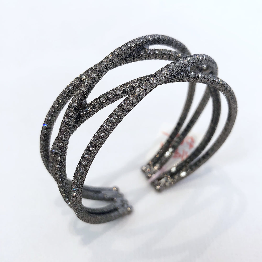 Small Crystal Cuff Dark Silver