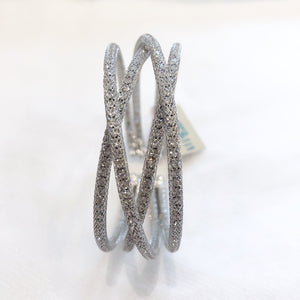 Load image into Gallery viewer, Small Crystal Cuff Silver