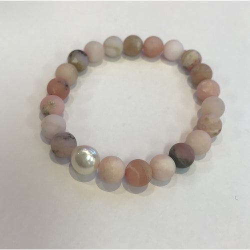 MVF Mixed Pink Gemstone Bracelet with Pearl