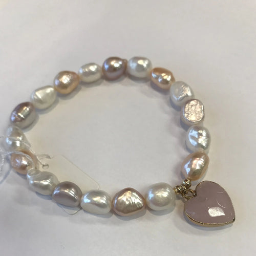 MVF Mixed Pearl Stretch Bracelet with Heart Charm