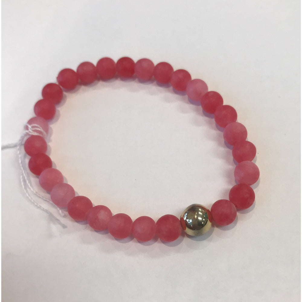 Load image into Gallery viewer, MVF Small Pink Stretch Gemstone Bracelet with Gold Bead