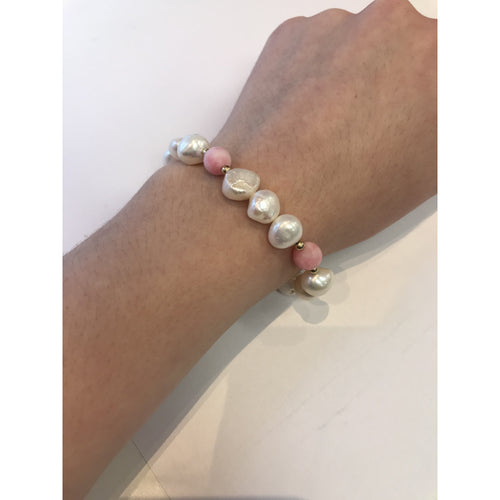 MVF Mixed Pearl Bracelet with Pink Gemstones