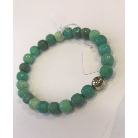 MVF Small Sea Green Gemstone Stretch Bracelet with Gold Bead