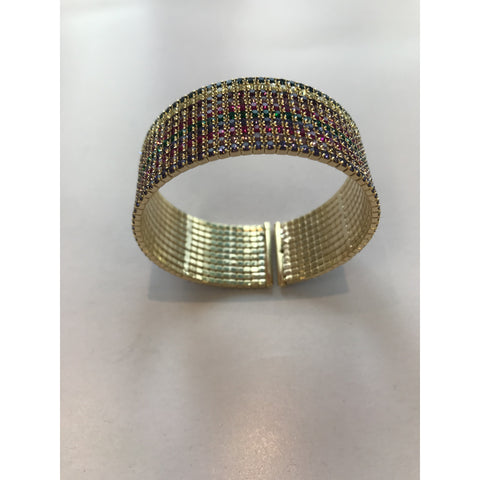 Wide Cuff Rainbow with Gold Interior
