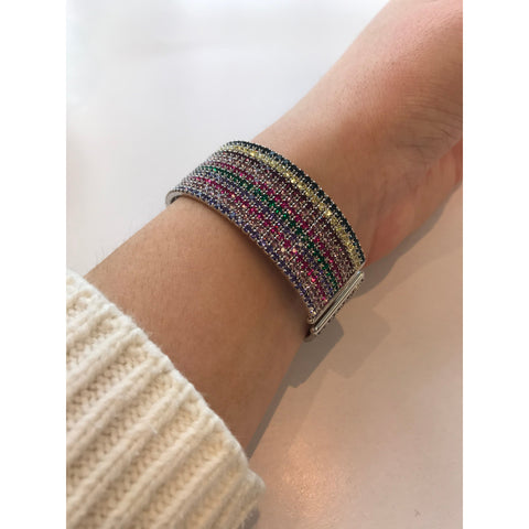 Wide Cuff Rainbow with Silver Interior