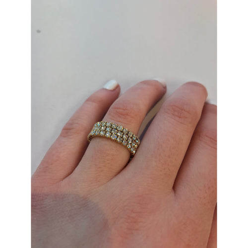 Triple Band Stretch Ring White/Gold