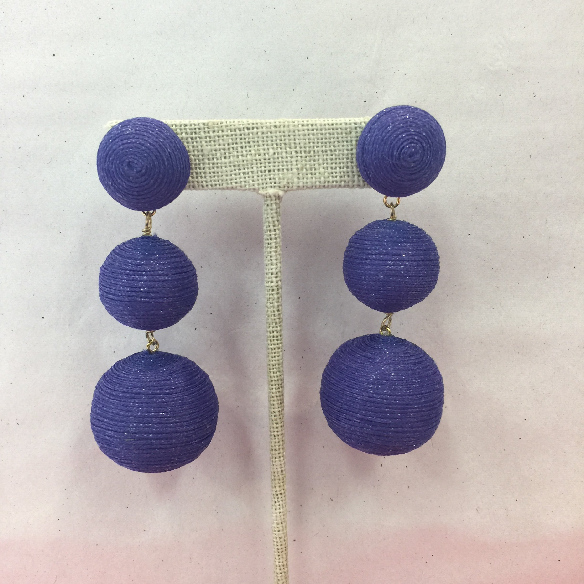 KEP 3 Drop Pom Pom Sparkle Earring