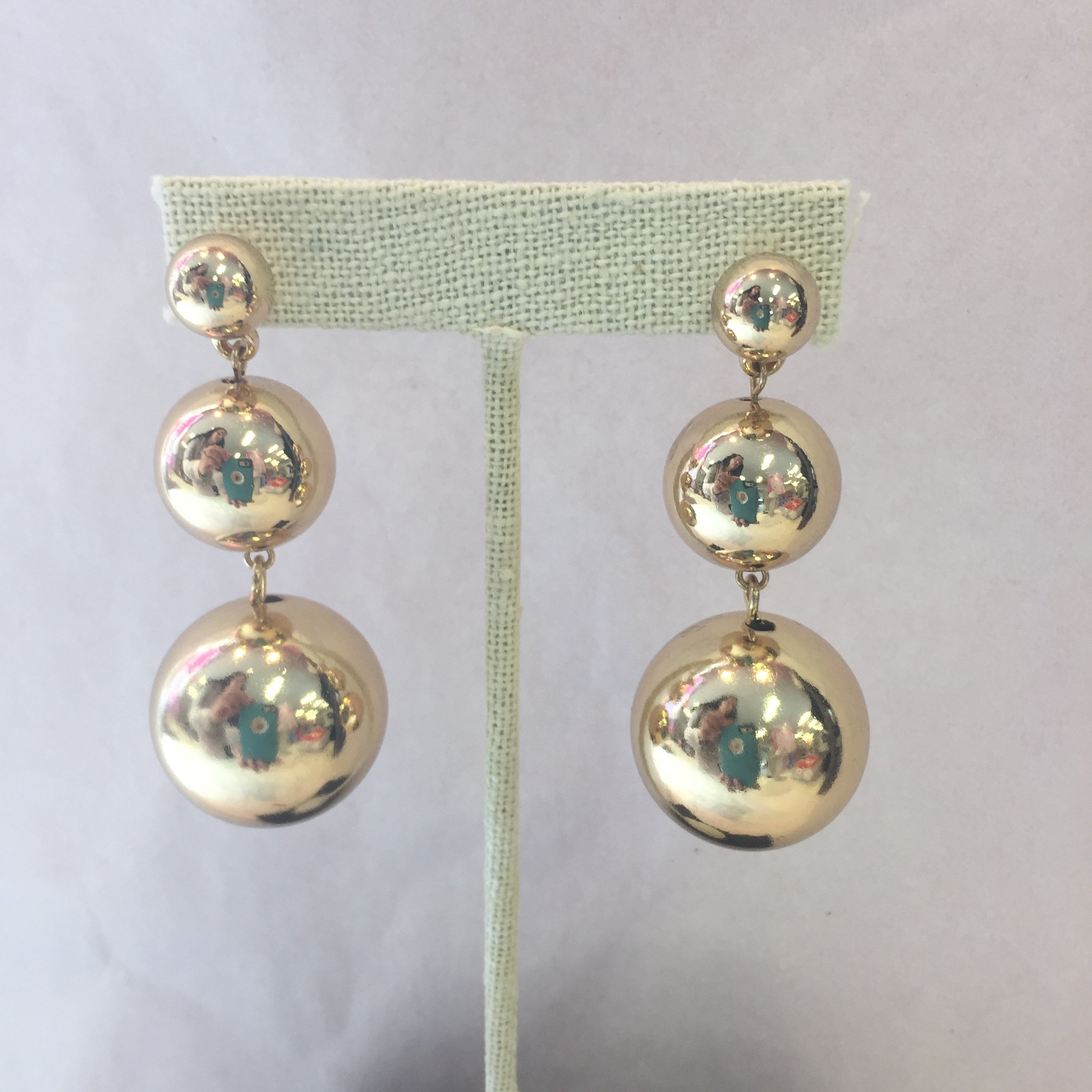 Gold Metal Pom Earrings