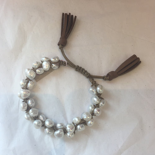 Pearl and Leather Drawstring Bracelet