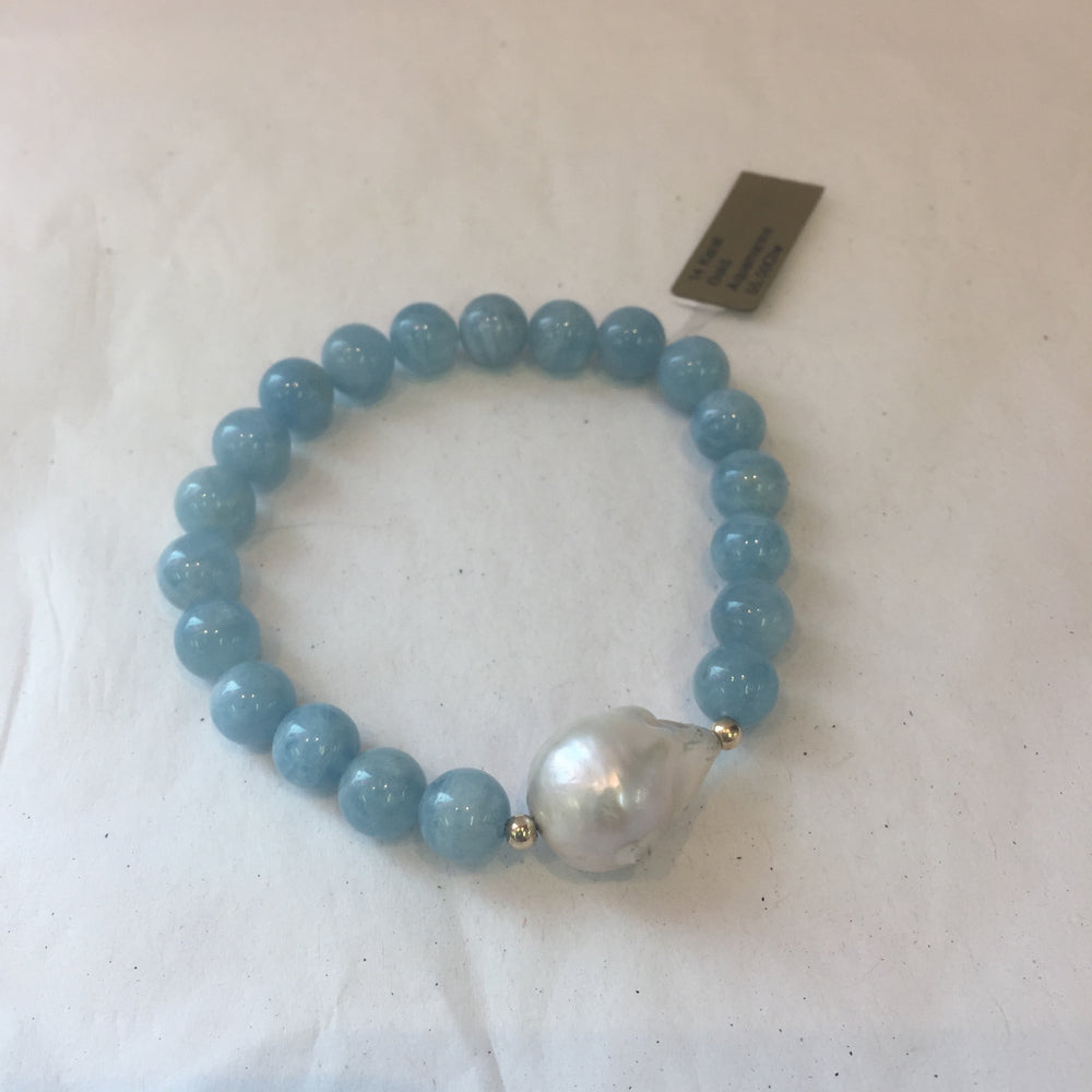 Beaded stretch Bracelet Blue/Pearl