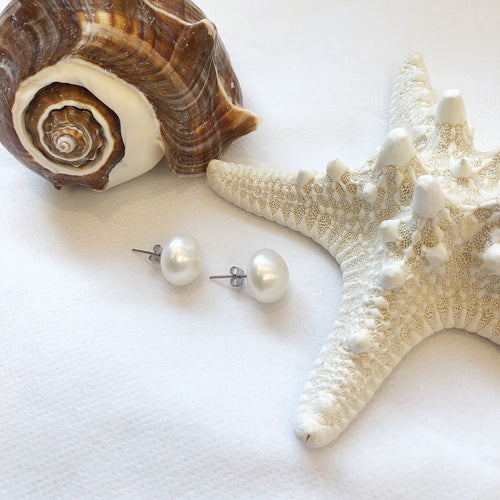 MVF Large Pearl Studs White