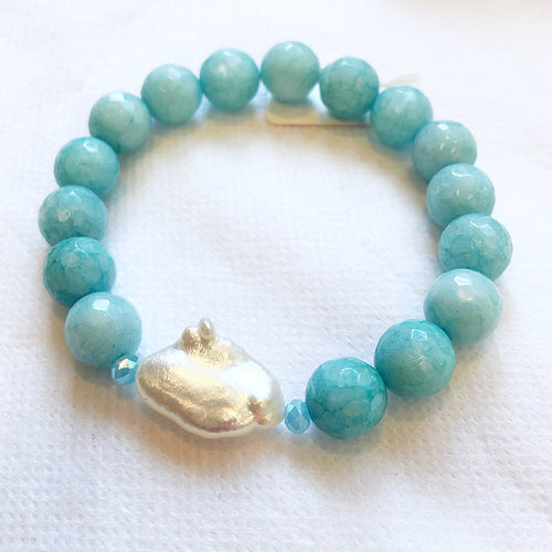 MVF Faceted Gemstone Stretch Bracelet Turquoise and Single Pearl