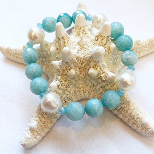MVF Faceted Gemstone Stretch Bracelet Turquoise and Pearls