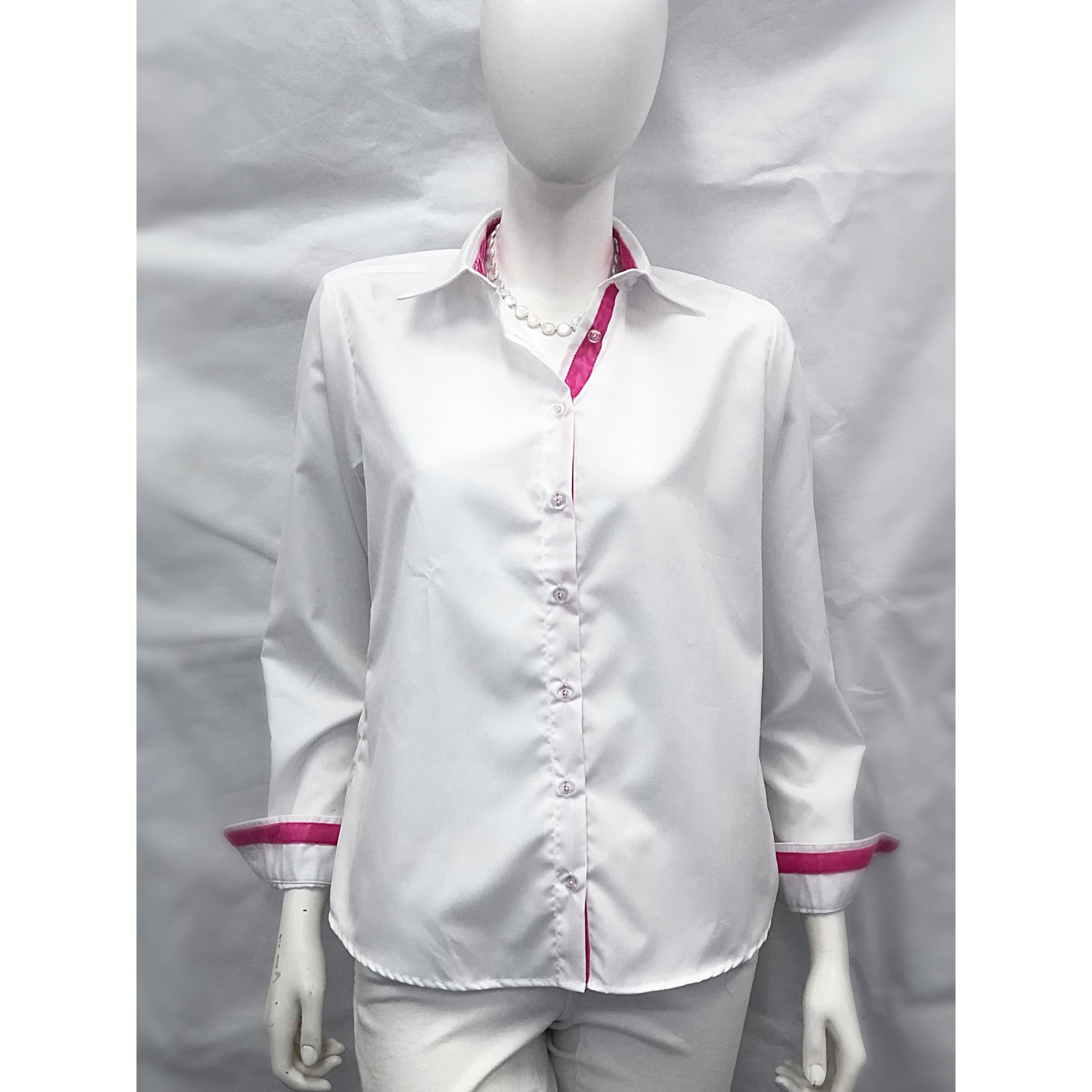 Cortland Park Classic Button Down Shirt White/Hot Pink