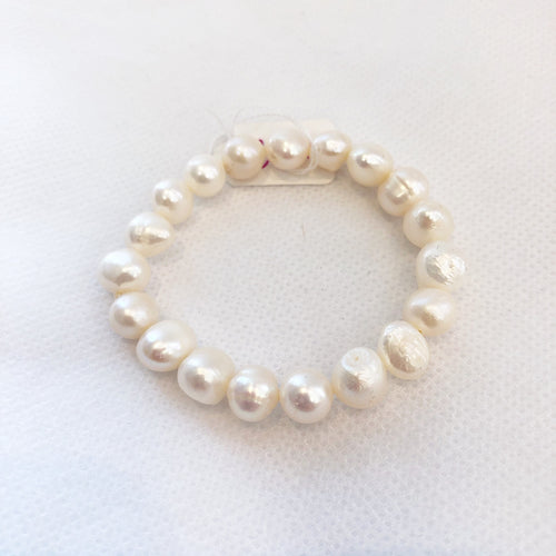 MVF Girls Pearl Stretch Bracelet White