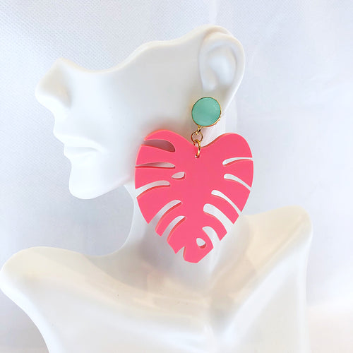 Sugar Large Leaf Gemstone Earring Coral/Aqua Chalcedony